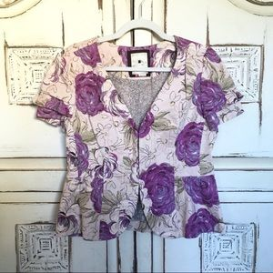 Anthropologie Elevenses Purple Floral Jacket 12